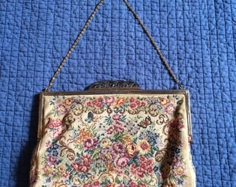 Vintage Embroidered Purse/Small Upholstery Purse