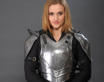 "Larp Galadriel Medieval Elf Fantasy Costume elven steel armor ""Forest Soul"": cuirass and shoulders"