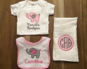 Baby Girl Pink Elephant Gift Set : personalized, monogrammed, applique bib, burp cloth, onesie bodysuit
