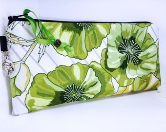 Tropical Waterproof Pouch, Cosmetic Bag, Green Floral Pencil Case, Wet Bag, Makeup Bag, Reusable Cloth Pads, Pencil Pouch, Zipper Pouch