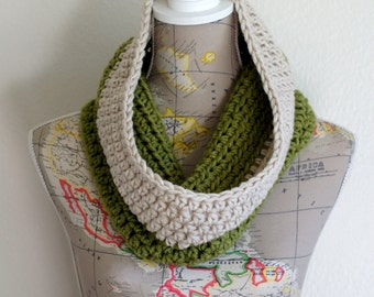 Avocado Cowl! Cozy Green and Beige Cowl Neck Warmer Scarf