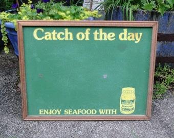 Vintage Hellmann's advertising chalkboard