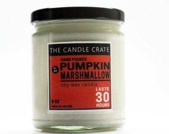 Pumpkin Marshmallow 8 Ounce Scented Soy Wax Fall Candle