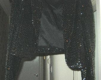 ON SALE - Vintage 80's Reldan Sequinned Jacket - size 14-16 UK