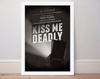 Movie poster 'Kiss Me Deadly' monochrome print