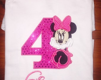 Minnie Mouse Inspired Birthday Shirt - Any Age/Name