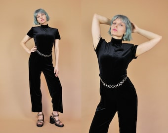 RESERVED Black Velvet Jumpsuit, 90s Velvet Onesie, 90s Does 70s, Mock Turtle Neck, Short Sleeve, 1990s Black Jumpsuit, Velvet Pants, Disco