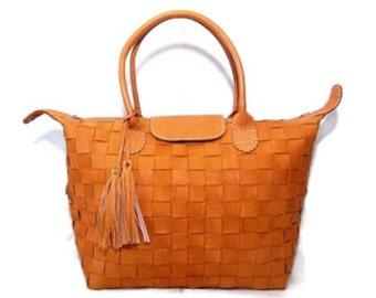 Woven Leather Tote Handbag