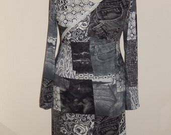 Jeans-/lace print tricot dress, black white grey, print, size EU 38/40 (USA 8/10, UK 10/12), cotton, tricot
