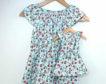 Size 14 XLarge Girl and Doll Matching Dresses - Dollie and Me Clothes - 18 Inch Doll Clothes - 15 Inch Doll Clothes - Matching Girl and Doll