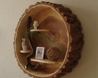 Tree trunk wall shelf