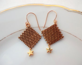 Earrings Peyote beadwoven earrings gold golden stars, toho delica beads gold, earrings gold