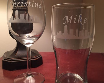 Personalized Cleveland  Glasses - Cleveland Skyline Imperial Pint Glass and  Wine Glass Set - His and Her Cleveland Gift - Cleveland Wedding