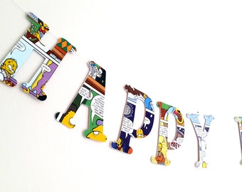 Personalised Simpsons Birthday Banner- Simpsons  Cartoon Happy Birthday Garland- Comic Book Design Birthday Bunting - The Simpsons