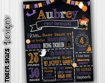 Halloween Birthday Chalkboard, Witch, Birthday poster, Custom Digital File, any age