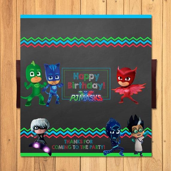 Pj Masks Candy Bar Wrapper Chalkboard * Pj Masks Chocolate Bar Label * Pj Masks Party Printables * Pj Masks Birthday * Pj Masks Party Favors
