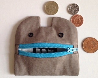Zip Monster Coin Purse, Zip Pouch, Cotton Canvas Handmade
