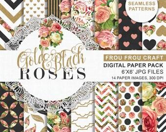 Gold Black Roses Printable Paper, Romantic Paper Pattern, Gold Roses Digital Pattern, Gold and Black Paper, Pink Roses Shabby Chic Digital