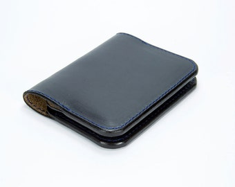 Minimal Leather Wallet, Card Wallet, Card Holder, Navy Chromexcel Wallet, Navy Horween Leather Wallet