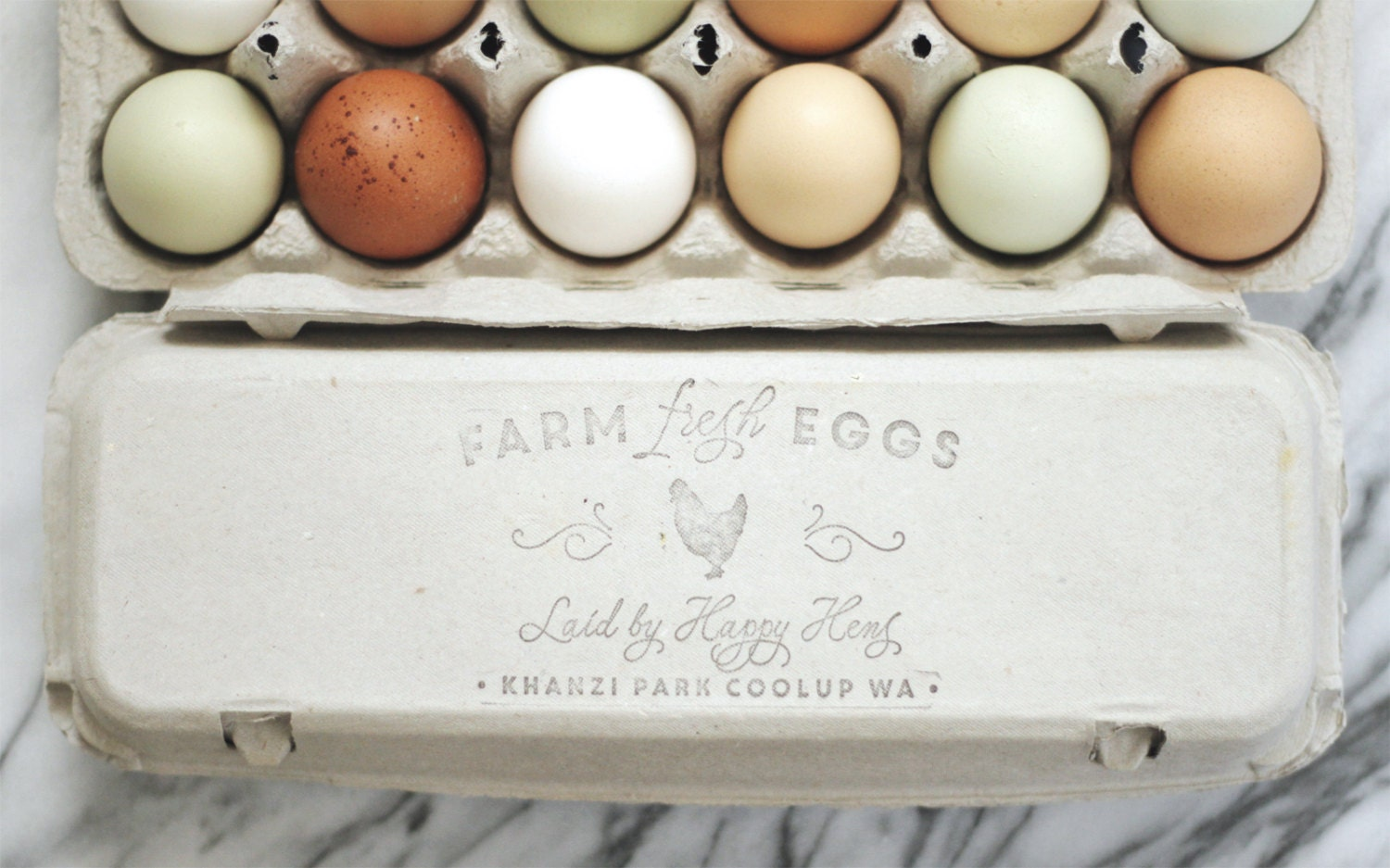 Custom chicken stamp large egg carton label by for Design your own egg boxes