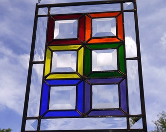 Rainbow and Bevel Stained Glass Window Hanging - Vertical - Free Shipping