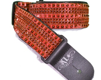 Red Guitar Strap, American Made, Crystal Guitar Strap, Sparkly Guitar Strap