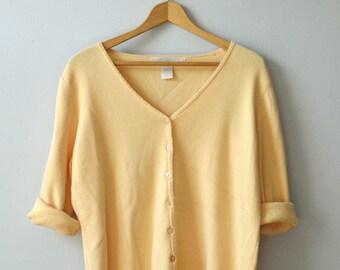 Vintage high woman cardigan sleeve three quarter yellow button Jalouze