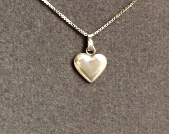 Sterling Silver, Vintage, Heart Necklace