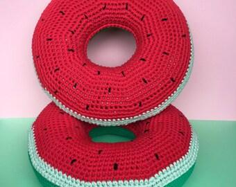 Watermelon crochet donut cushion