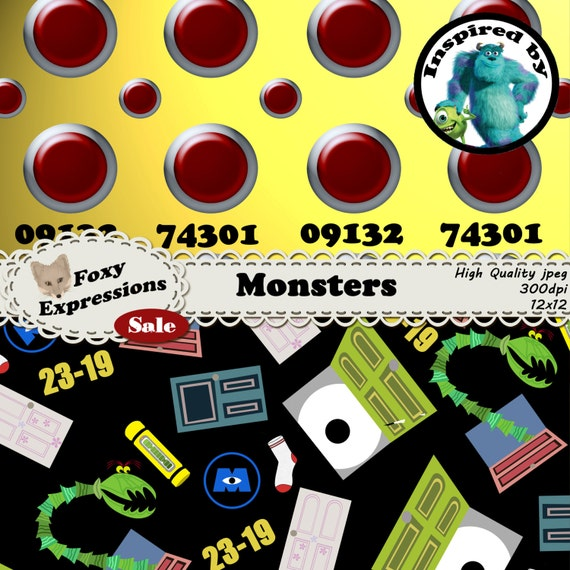Monsters Digital Paper Inspired By Monster Inc Designs
