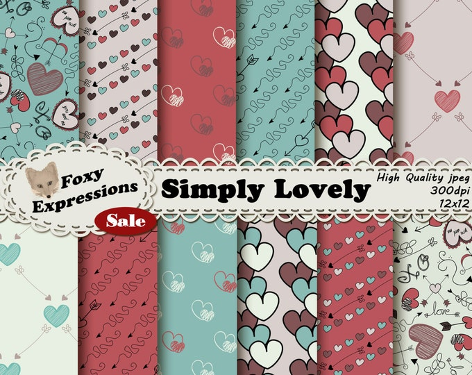 Simply Lovely Digital Paper pack comes with hand drawn doodles like young love notes, including hearts, arrows, love, xo, cupids bow & arrow