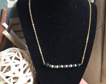 Green Jewelry / Bar Necklace / Chain Necklace