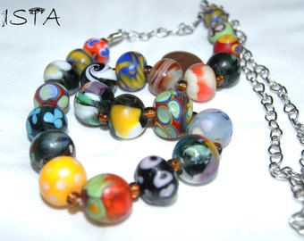 Necklace. From bright colored beads. Lampwork. handmade.