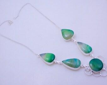 Botswana Agate Awesome Look Stone .925 Silver handmade Necklace Jewelery (f-307)