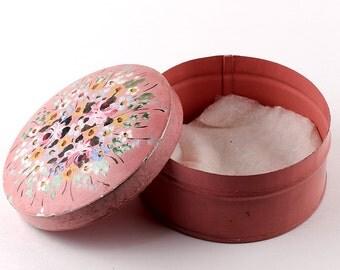 Vintage Ladies Powder Tin - Hand Painted - Pink- Flowers
