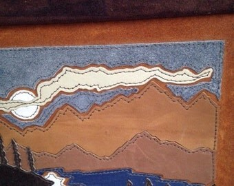 Vintage All Leather Landscape Painting | Art | Suede | Nature Scene | Brown | Wilderness | Cabin | Dawn Mountain