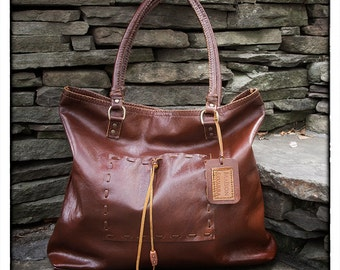 Slouchy Learge Leather Whiskey Tote