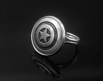 Pentagram Ring -Captain America Ring -Super Hero Ring -Adjustable Personalized Ring -Gift for Her