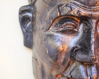 Wood Sculpture,  Hand Carved Face