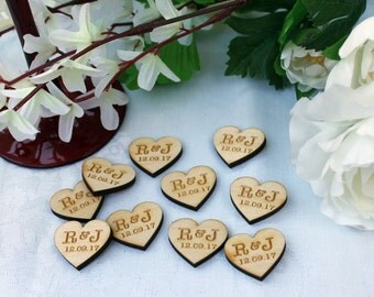 Wooden Hearts PERSONALISED with bride and groom initials wedding Table Confetti
