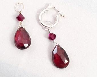Interchangeable Garnet Briolette Teardrop Earring Dangle, Garnet Necklace Charm, Garnet Teardrop Hoop Charm, January Birthstone Charm