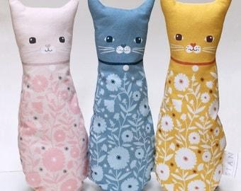Plush Cat Doll Cushion, Blue