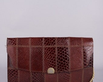60's vintage clutch - purse - 60s evening bag - red reptile optics - elegant-classic - chic - 60s fashion - 60s vintage