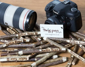 Business name  Twig pen. Rustic and unique personalised twig pen.
