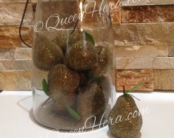 Artificial Beaded Pear Fruit Christmas Ornaments Bowl Filler Lot of 6!