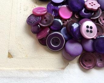 Vintage button lot purple mixed buttons