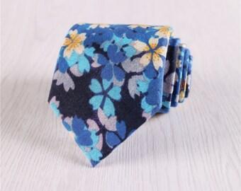 blue floral necktie for men.silk neckties for wedding.groomsmen necktie for bridegroom.flower print neckties.men's suit accessories+nt.s399