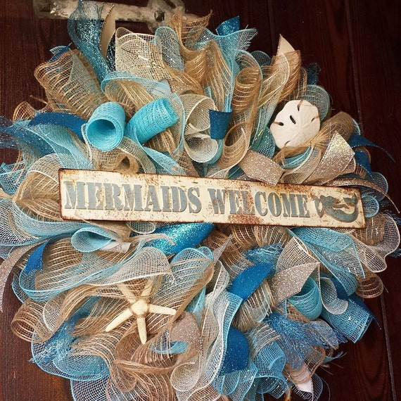 Mermaids Welcome, Mermaid Wreath, Beach Wreath, Seashell Wreath
