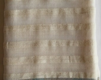 Women's 100% Handwoven Ivory White Ethiopian Cotton Scarf w/ Emerald Decorative Design and Border