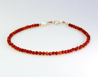 Carnelian bracelet;Gemstone bracelet;Orange bracelet;Red bracelet;July birthstone;17th anniversary;Sterling silver;Gemstone;Thegemstring
